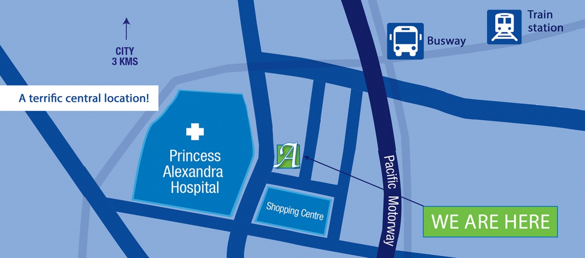 Our accommodation is conveniently located opposite the Princess Alexandra Hospital.